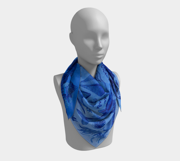 Ocean Lovers Square Blue Scarf