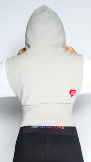 Tap Into Love - Grey / White Cropped Hoodie