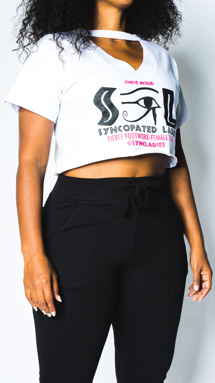 Syncopated Ladies EYE - White Logo Cut Out Cropped T-Shirt
