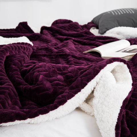 Soft Cozy Sherpa & Coral Fleece Double-Layer Throw Blanket_Detail