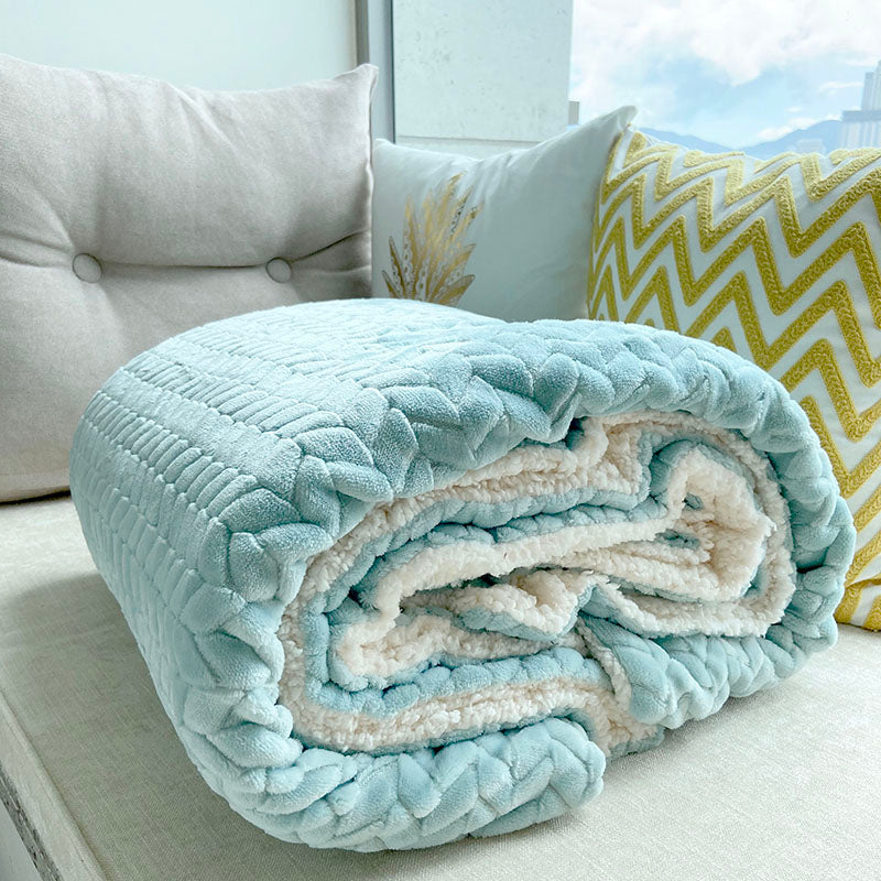 Soft Cozy Sherpa & Coral Fleece Double-Layer Throw Blanket_Light_Blue