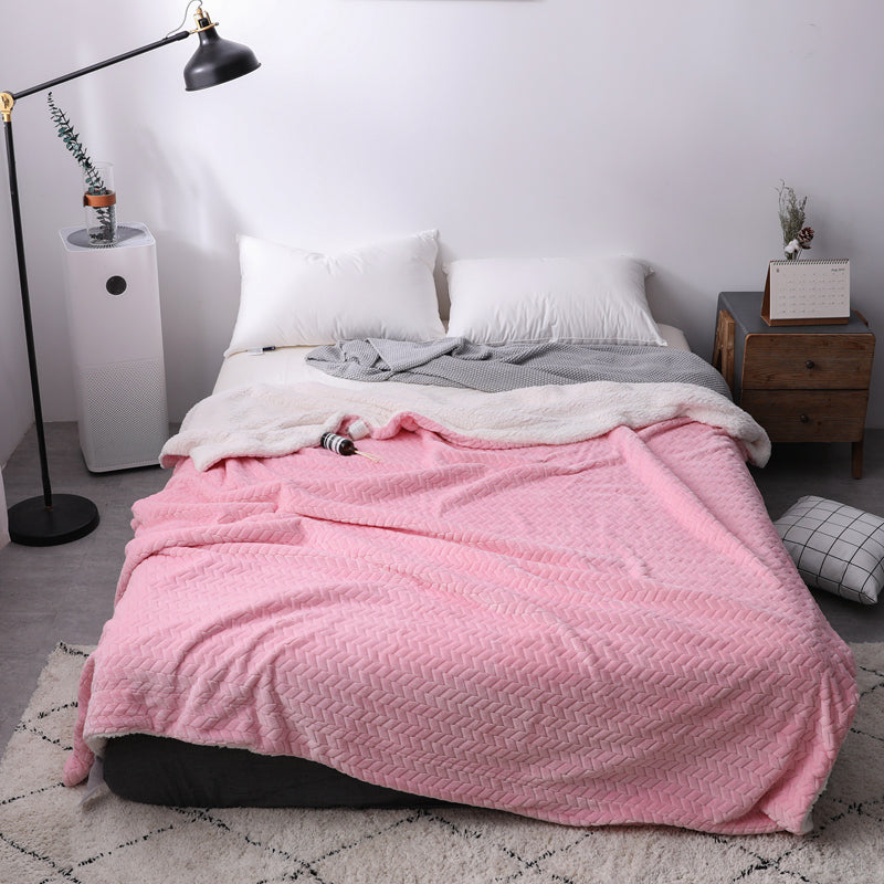 Soft Cozy Sherpa & Coral Fleece Double-Layer Throw Blanket