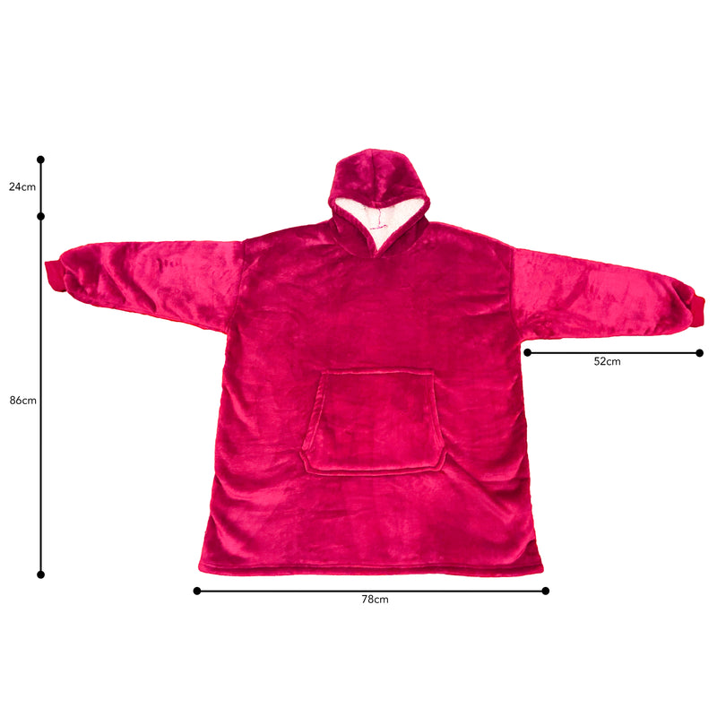 SoftOversizedMicrofiberWearableHoodedBlanket_Red_Measurements