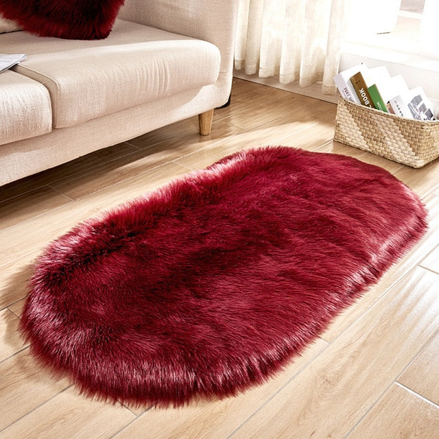 Deluxe Fine and Soft Faux Sheepskin Rug_Wine