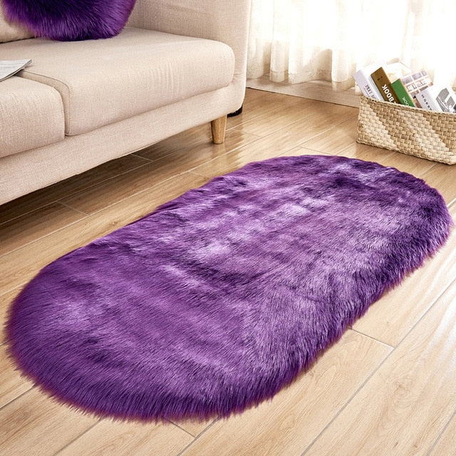 Deluxe Fine and Soft Faux Sheepskin Rug_Violet