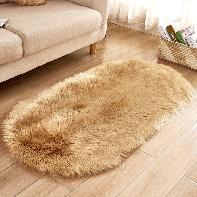 Deluxe Fine and Soft Faux Sheepskin Rug_Coffee
