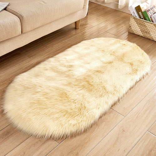 Deluxe Fine and Soft Faux Sheepskin Rug_Light Gold