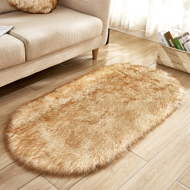 Deluxe Fine and Soft Faux Sheepskin Rug_White Coffee