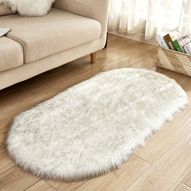 Deluxe Fine and Soft Faux Sheepskin Rug_White Grey