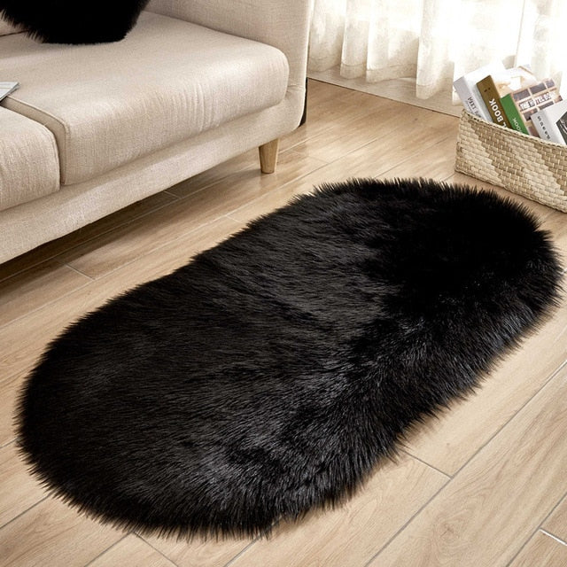 Deluxe Fine and Soft Faux Sheepskin Rug_Black