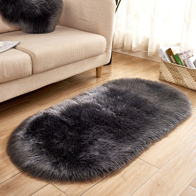 Deluxe Fine and Soft Faux Sheepskin Rug_Dark Grey