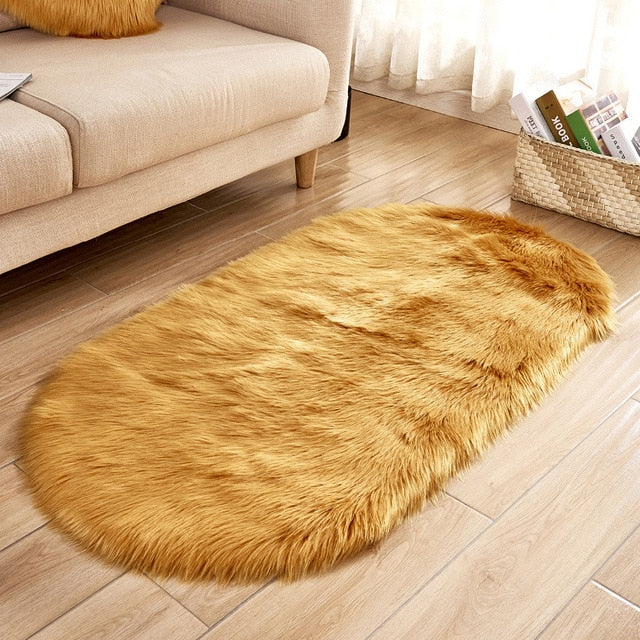 Deluxe Fine and Soft Faux Sheepskin Rug_Gold