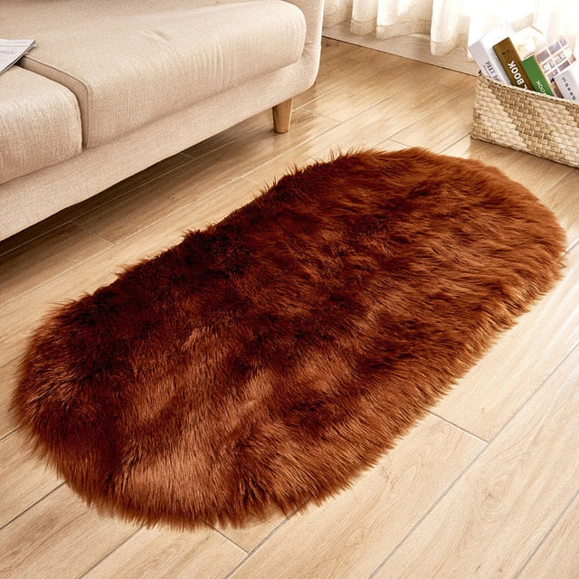 Deluxe Fine and Soft Faux Sheepskin Rug_Brown