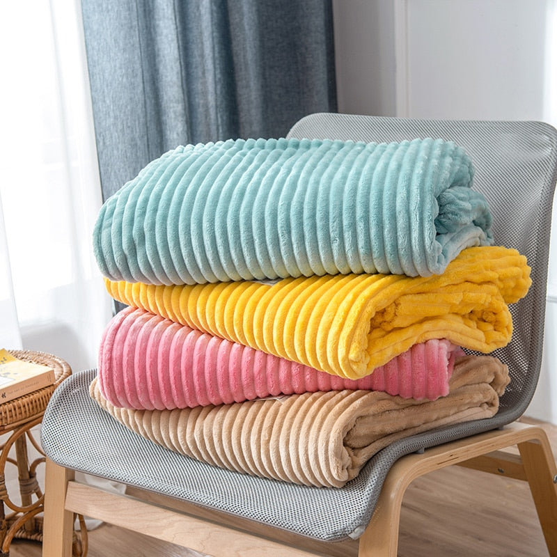 Super Soft Colorful Coral Fleece Throw Blanket