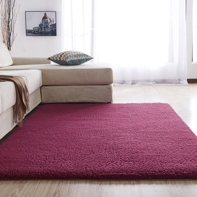 Airy Delicate Microfiber Area Rug_Red