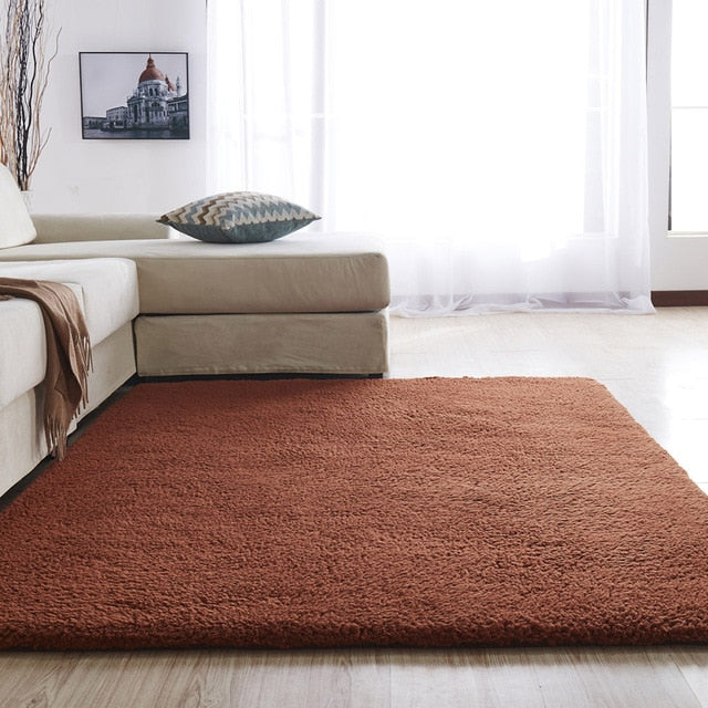 Airy Delicate Microfiber Area Rug_Brown