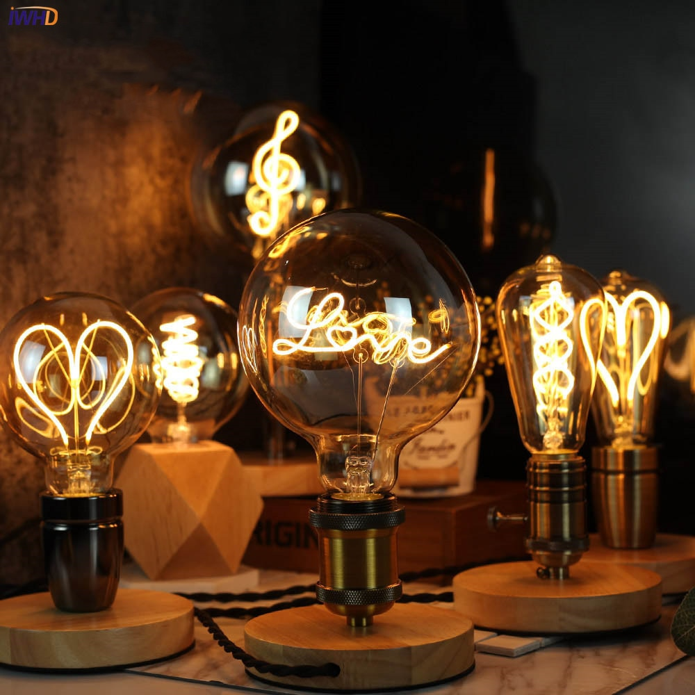 110V or 220V Extra Large Industrial Vintage Style LED Edison Light Bulb with Wood Socket