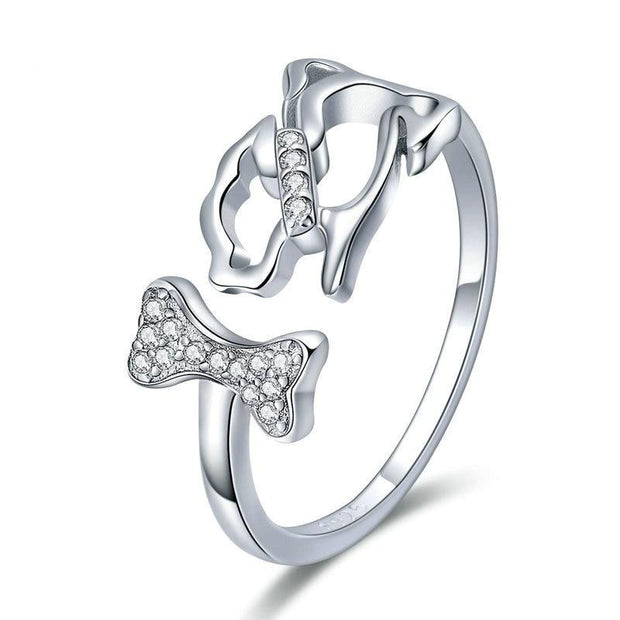 925 Sterling Silver Ring - Dog And Bone Ring