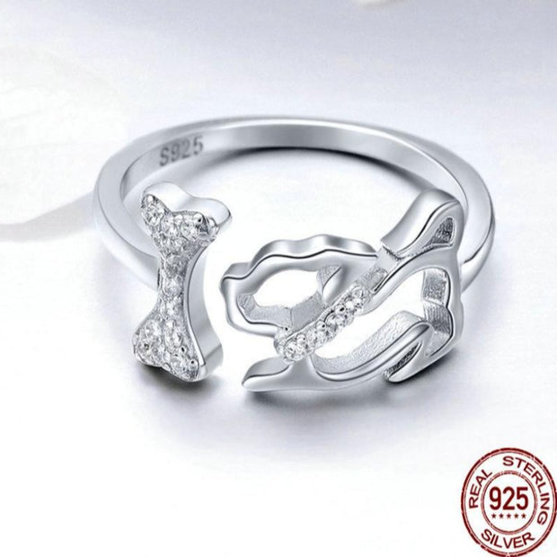 Adjustable Silver Dog & Bone Ring