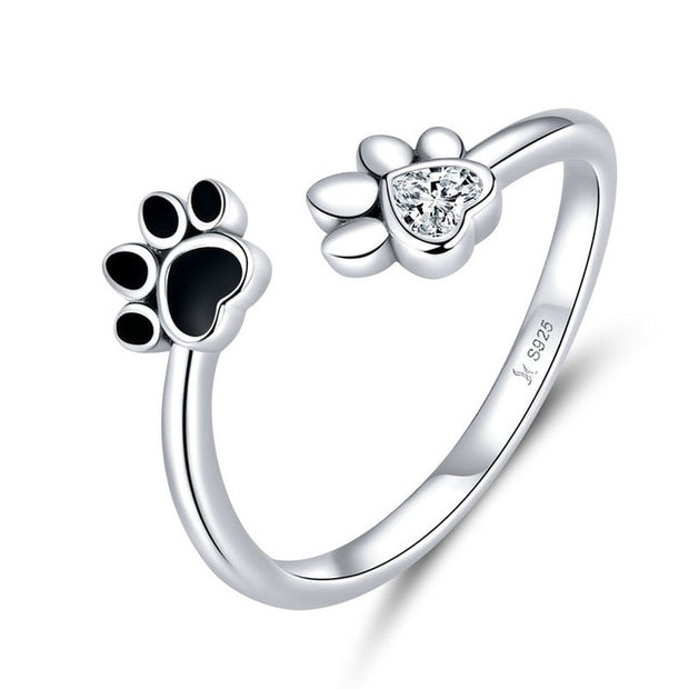 Adjustable Silver Dog Paw Ring