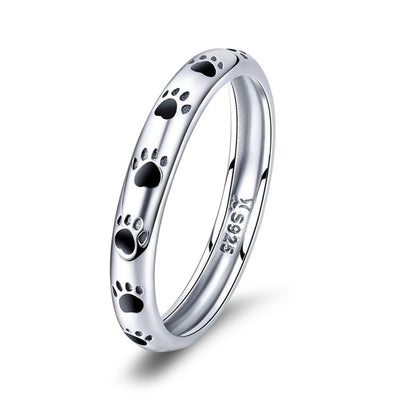 Dog Paw Silver Band Ring
