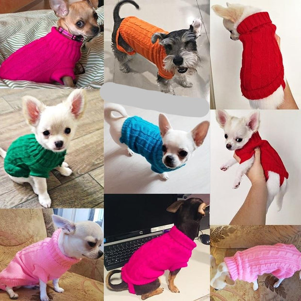 Cable Knit Dog Sweaters for Small Breeds