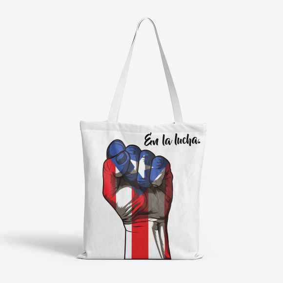 En la lucha Natural Canvas Tote Bags FlowPR