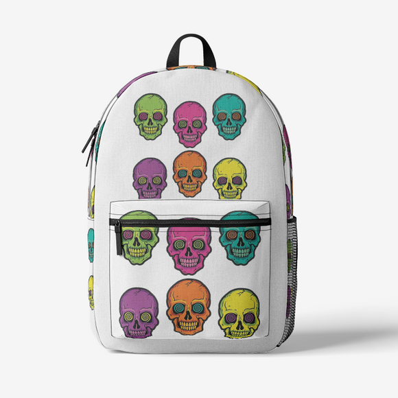 Colorskull Retro Colorful Print Trendy Backpack FlowPR