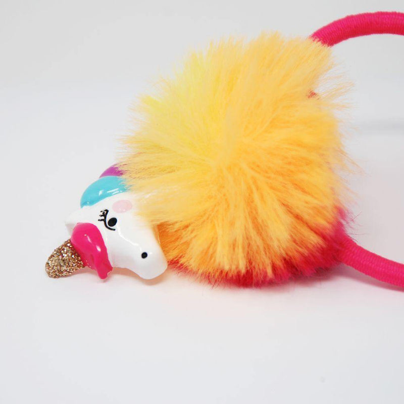 Unicorn Pom Pom Hair Elastic - shop.pinkpoppy-usa.com