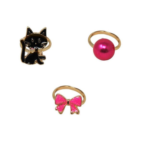 Kittens & Bows Adjustable Ring Set Of 3