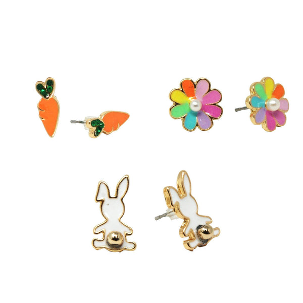 Bunny Garden Earrings Set Of 3 - shop.pinkpoppy-usa.com