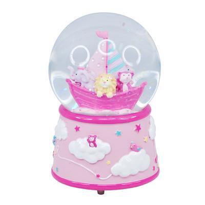 Dream Time Musical Snow Globe-Pale Pink