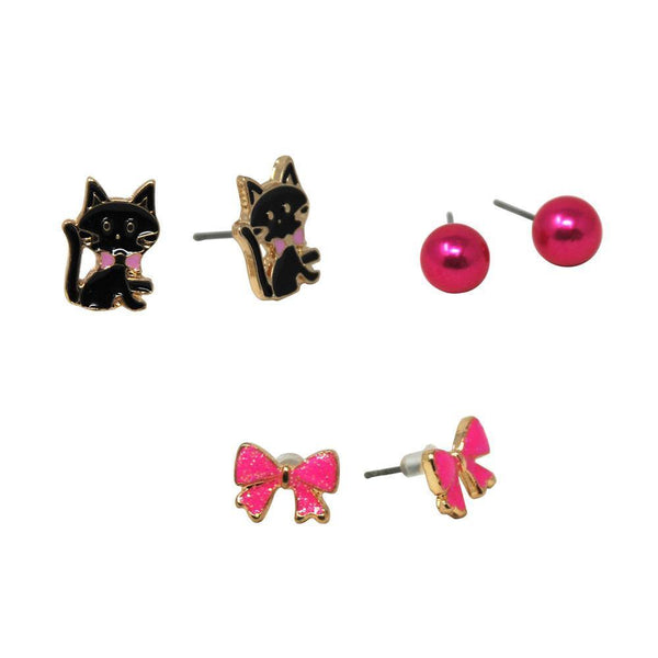 Kittens & Bows Earring Set Of 3