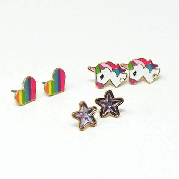 Rainbows & Unicorns Earring Set Of 3 - shop.pinkpoppy-usa.com