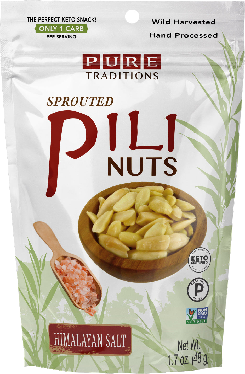 Sprouted Pili Nuts, Himalayan Salt