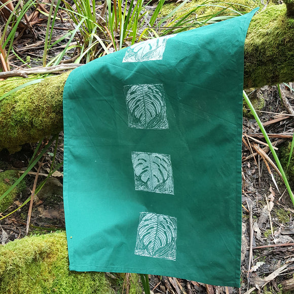 Tea Towel - Leaf Design 1 Vertical (Green)