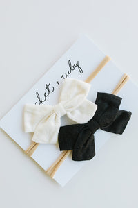 Linen Bow Headband - Black & White