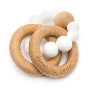 Bubble Silicone and Wood Teether - White