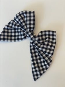 Oversized Linen Bow Clip - Black Gingham
