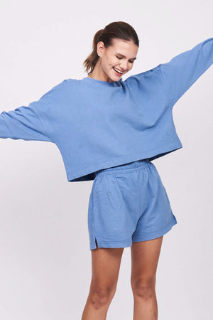 Jersey Tech Dusty Blue Cropped Sweatshirt