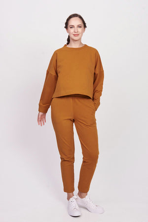 Jersey Tech Honey Ginger Cropped Sweatshirt
