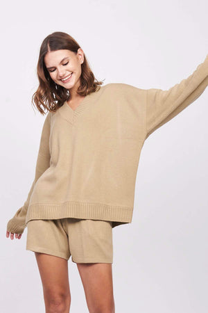 Taupe V-Neck Sweater