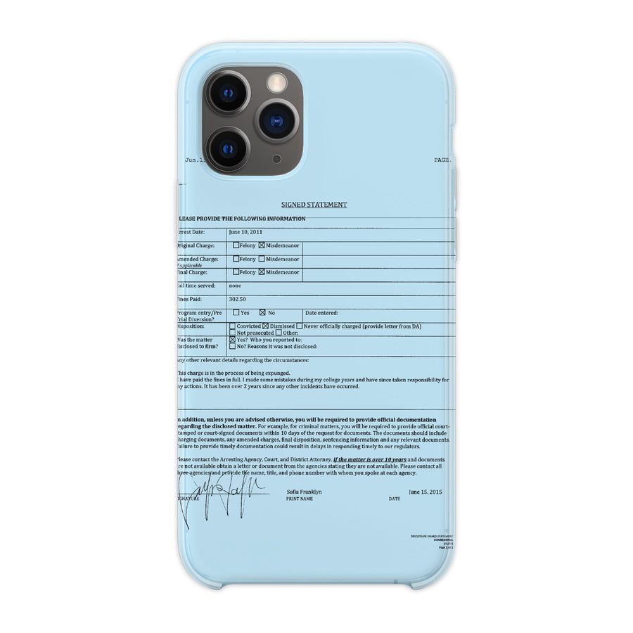 Blue 'Police Report' Phone Case