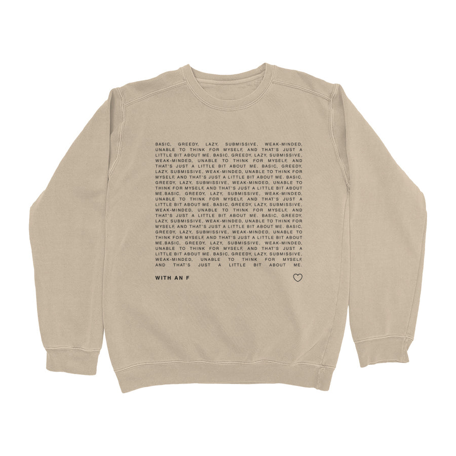 Vintage Sand 'With An F' Crewneck