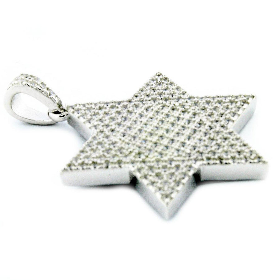 6 point Star Pendant Charm Sterling Silver With Cubic Zarcons Pave Set 24mm