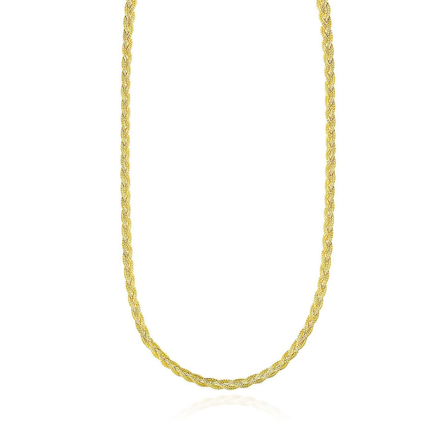 14k Yellow Gold Fox Chain Braided Motif Necklace