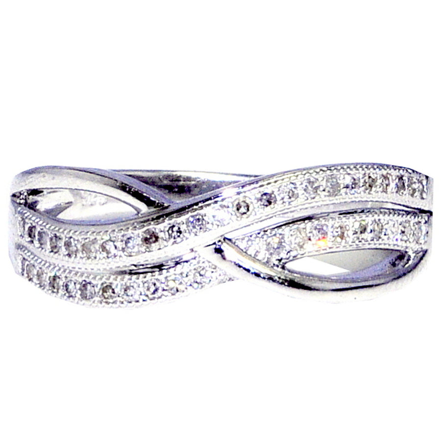 Sterling Silver Infinity Band Ring 0.22ctw Diamonds Fashion Anniversary Ring
