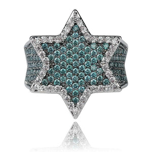 Mint Blue Iced Out Star Of David Ring