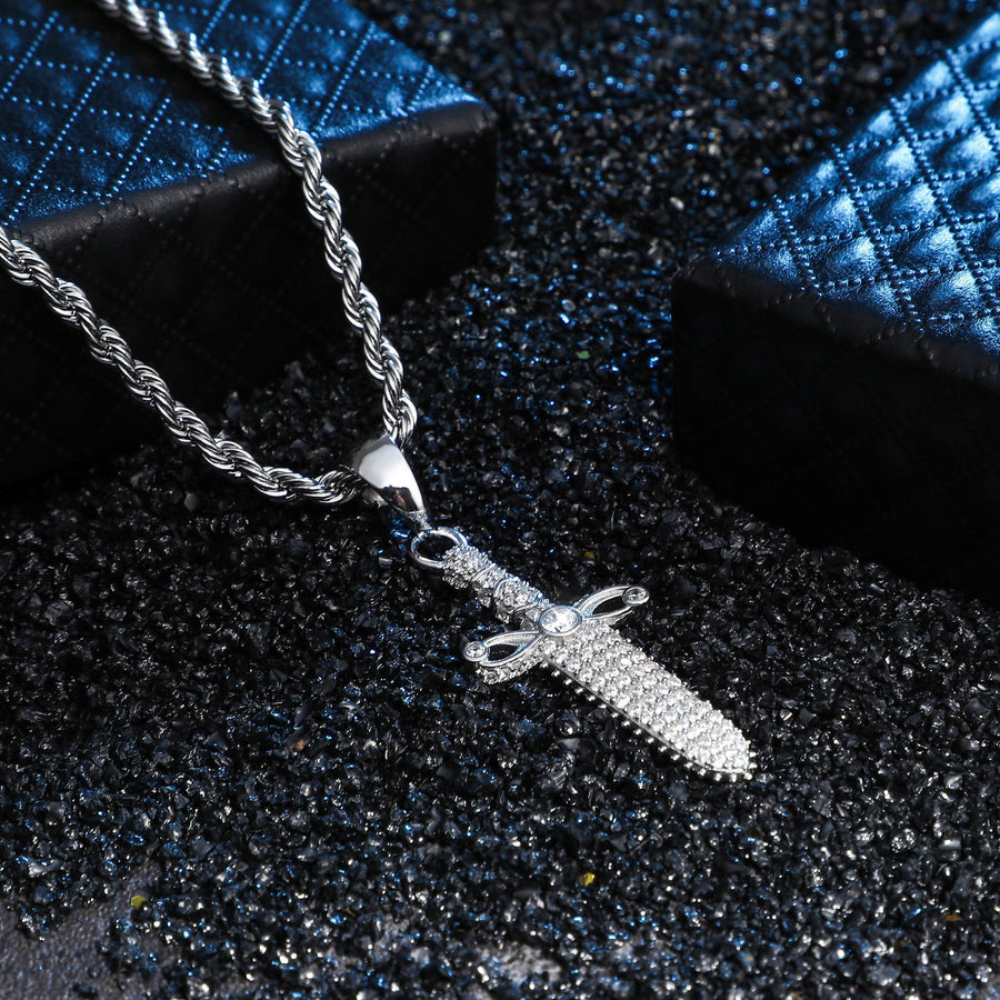 Iced Out Sterling Silver Dagger Cross Pendant and Chain