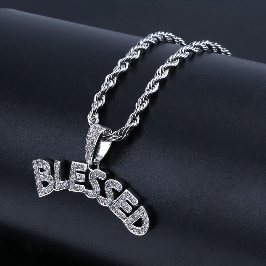 Iced Out Micro Pave BLESSED Pendant & Chain